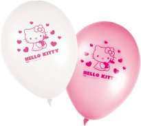 Ballonger Hello Kitty rosa & vita 8-pack