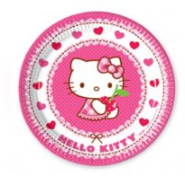 Tallrikar Hello Kitty rosa hjärtan 8-pack