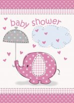 Inbjudningskort baby shower rosa elefant 8-pack