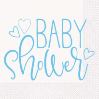 Baby shower blå servetter 16-pack