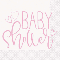 Baby shower rosa servetter 16-pack