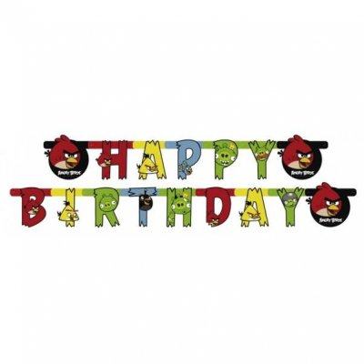 Banderoll Angry Birds formklippt Happy Birthday 180 cm