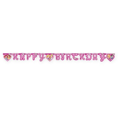 Banderoll prinsessor formklippt Happy Birthday