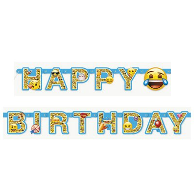 Banderoll emoji formklippt Happy Birthday 182 cm